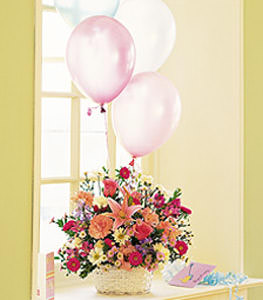 Birthday Balloon Basket Flower Petal