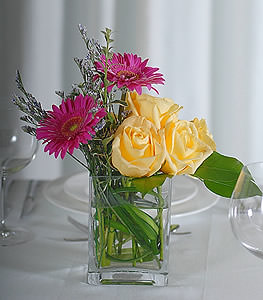 Add burst of sunshine to a dull table with electric yellow roses and vivacious hot pink gerbera daisies.