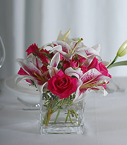 Adorned by specks of pink, stargazer lilies blend harmoniously with spirited hot pink roses.