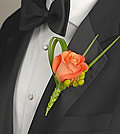 A classic white rose, highlighted with a splash of pink waxflower, makes this boutonniere stand out.