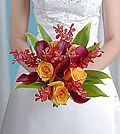 Perfect for a summer or autumnal wedding this bouquet is bursting with texture and rich hues.