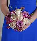 Delicate tones of lavender add a subtle yet modern edge to the look of the traditional rose bouquet.