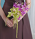 Delicate violet mokara orchids are accompanied by texturally varied green cymbidiums to create a sophisticated balance.