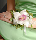 This simple corsage of one white cymbidium orchid accented with greenery projects uncomplicated stylishness.